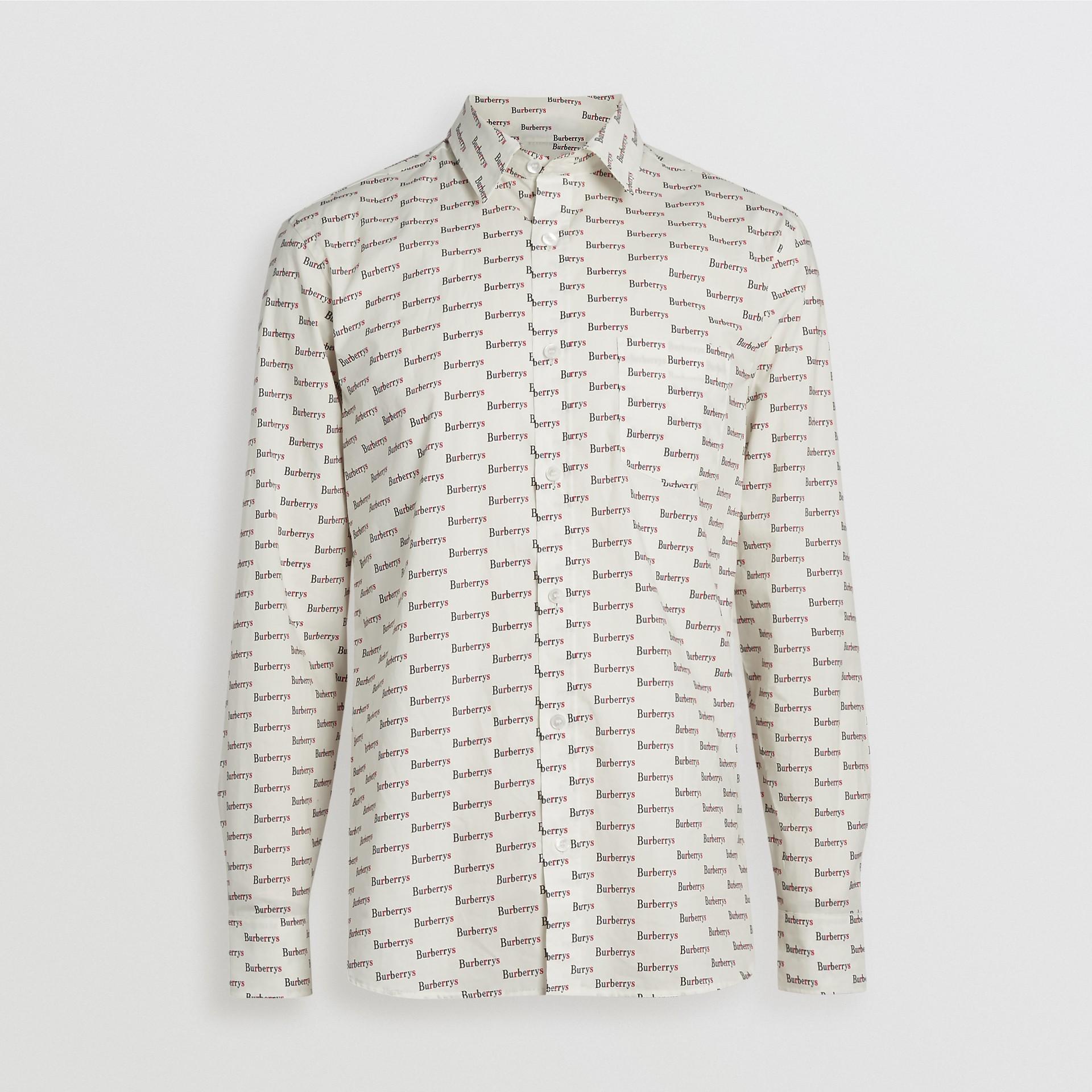 Logo Print Cotton Shirt in White - Men | Burberry United Kingdom - gallery image 3