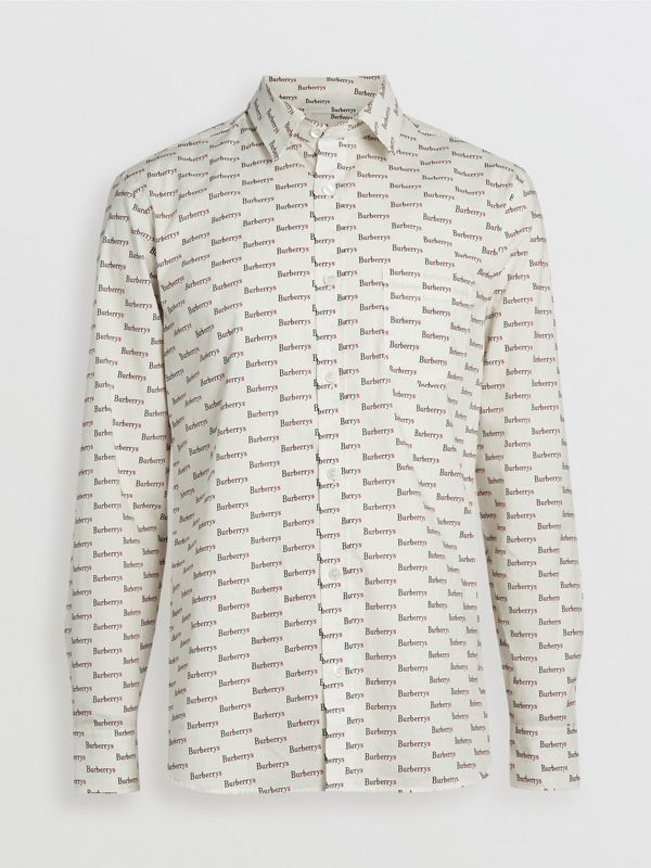 Logo Print Cotton Shirt in White - Men | Burberry Canada - cell image 3