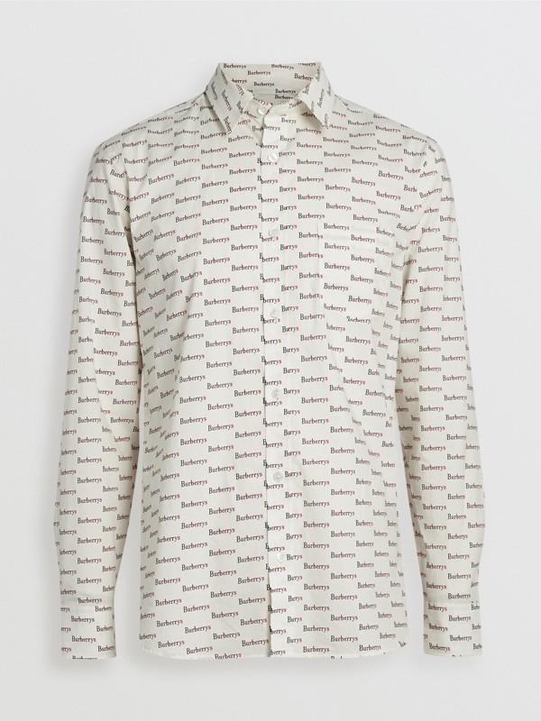 Logo Print Cotton Shirt in White - Men | Burberry United Kingdom - cell image 3