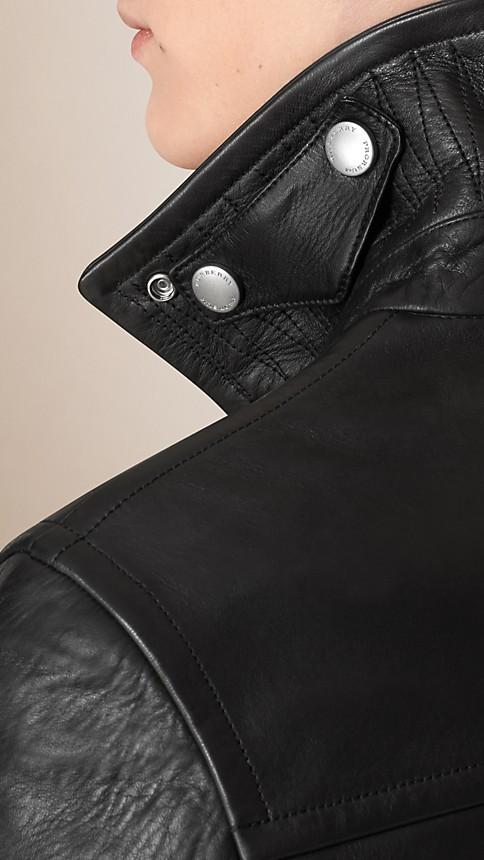 Black Leather Biker Jacket - Image 5
