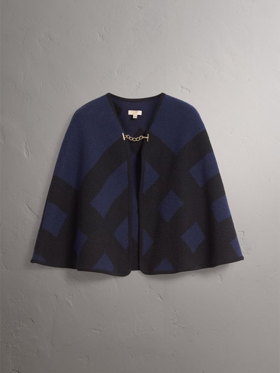 Check Wool Cashmere Blanket Cape in Navy - Women | Burberry - cell image 3