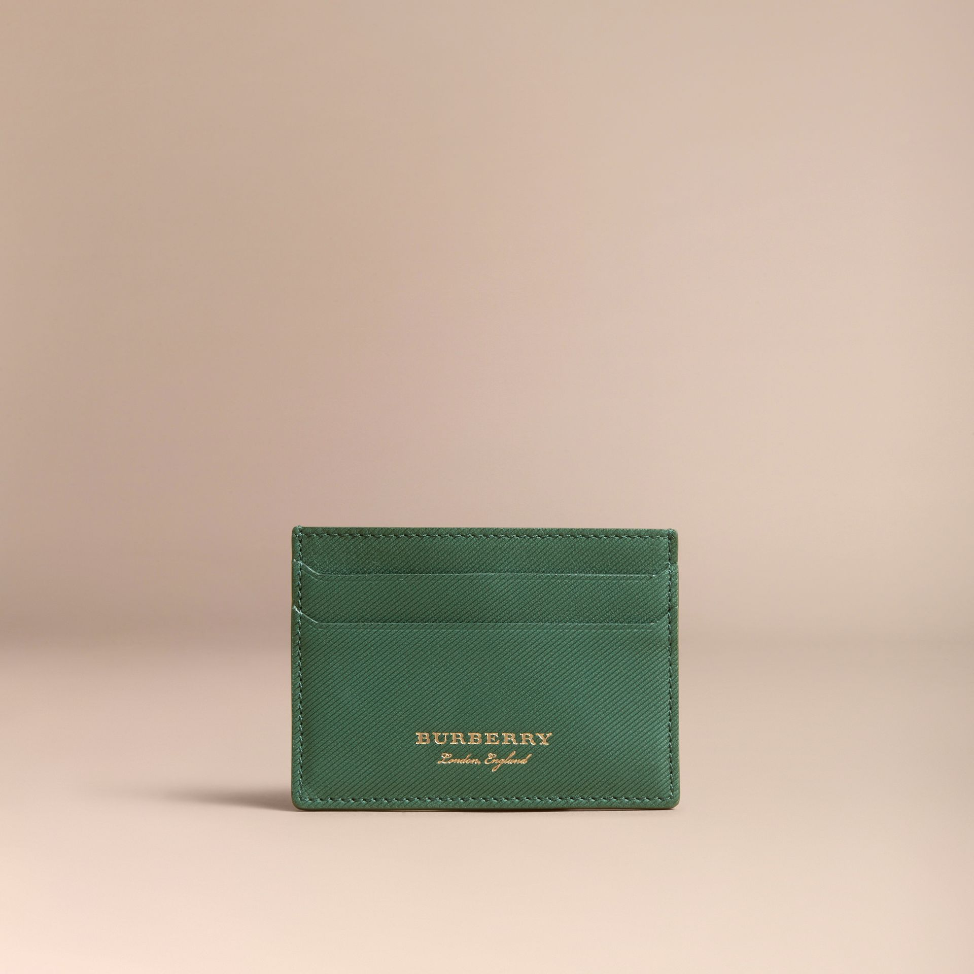 Trench Leather Card Case in Dark Forest Green | Burberry - gallery image 6