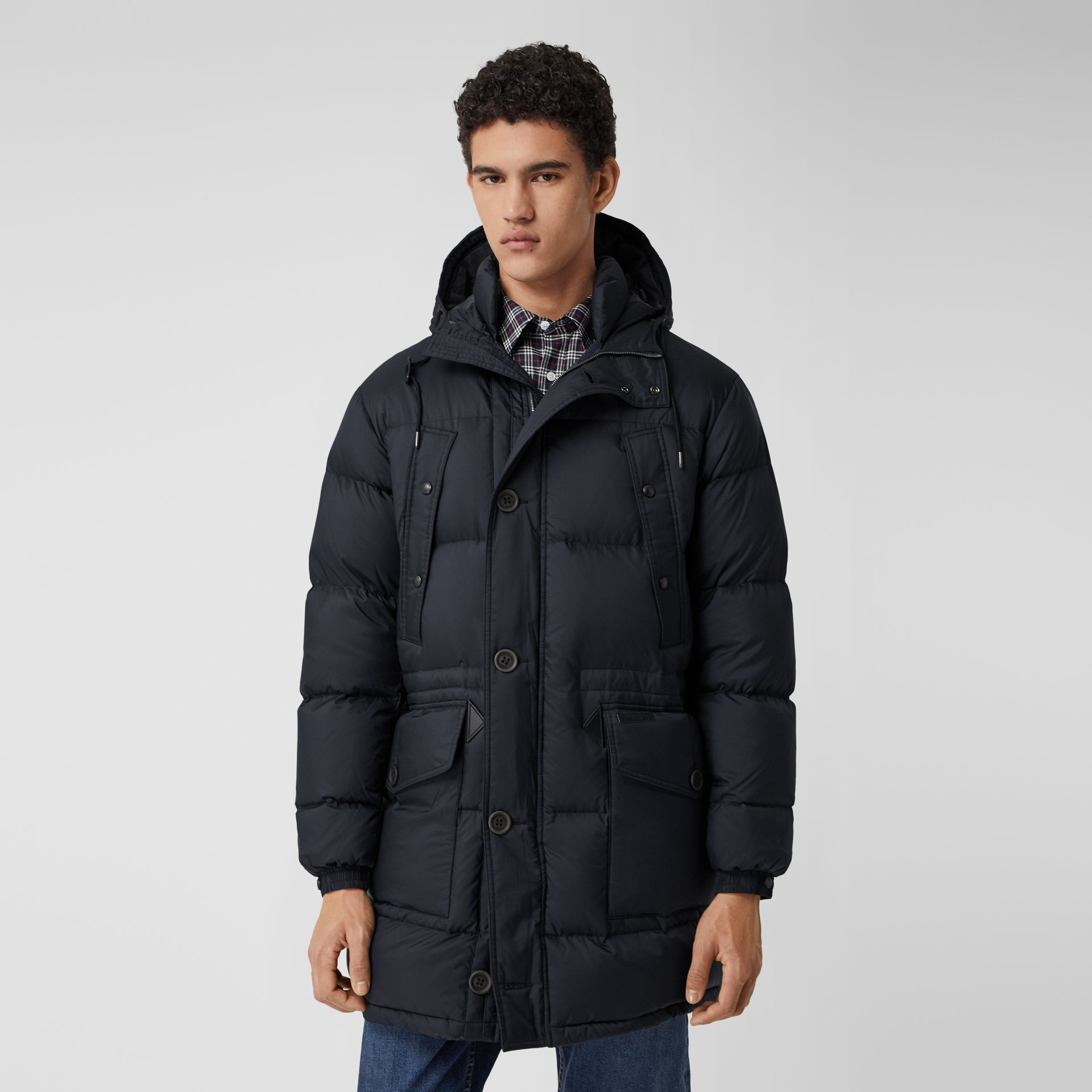 Hooded Puffer Coat in Navy - Men | Burberry - gallery image 5