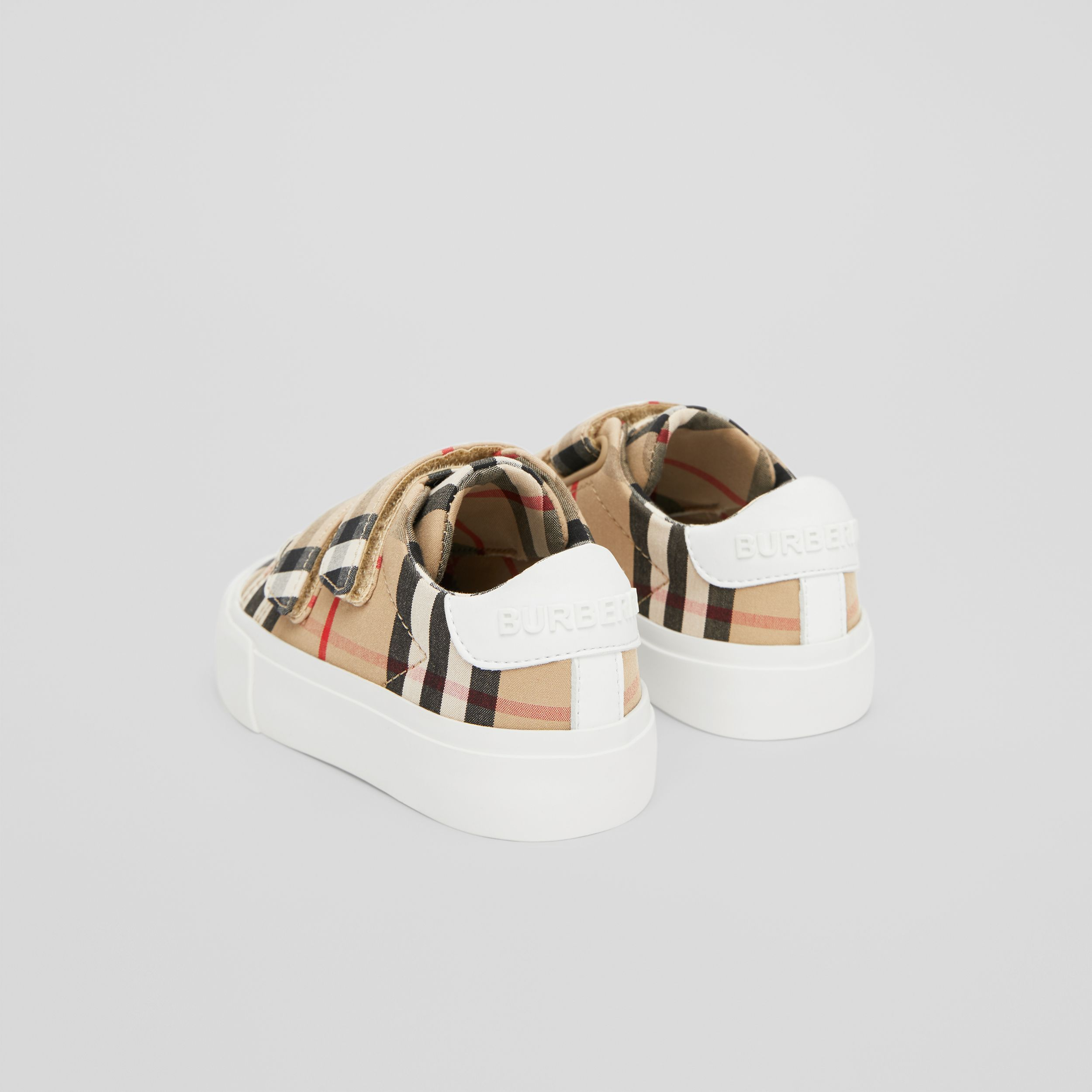 Vintage Check Cotton Sneakers in Archive Beige - Children | Burberry - 3