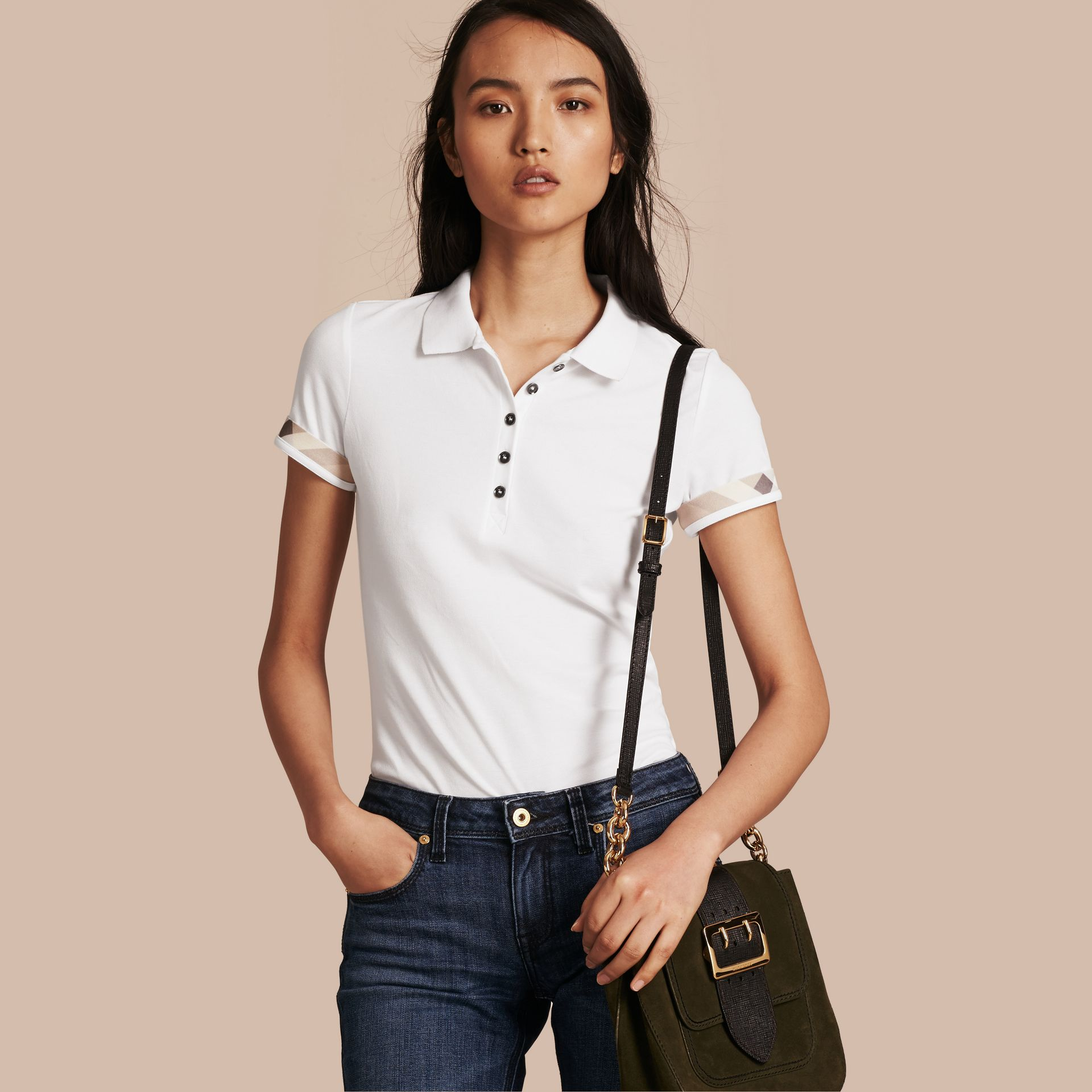 Check Trim Stretch Cotton Piqué Polo Shirt in White - Women | Burberry Hong Kong - gallery image 1