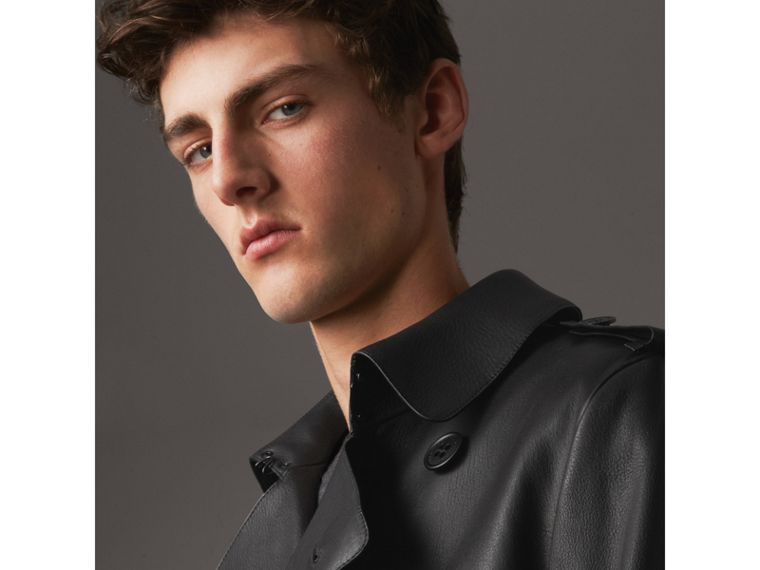Lambskin Trench Coat in Black - Men | Burberry - cell image 4