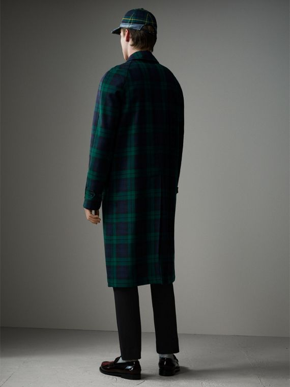 Reversible Tartan Wool and Cotton Gabardine Car Coat in Navy - Men | Burberry - cell image 2