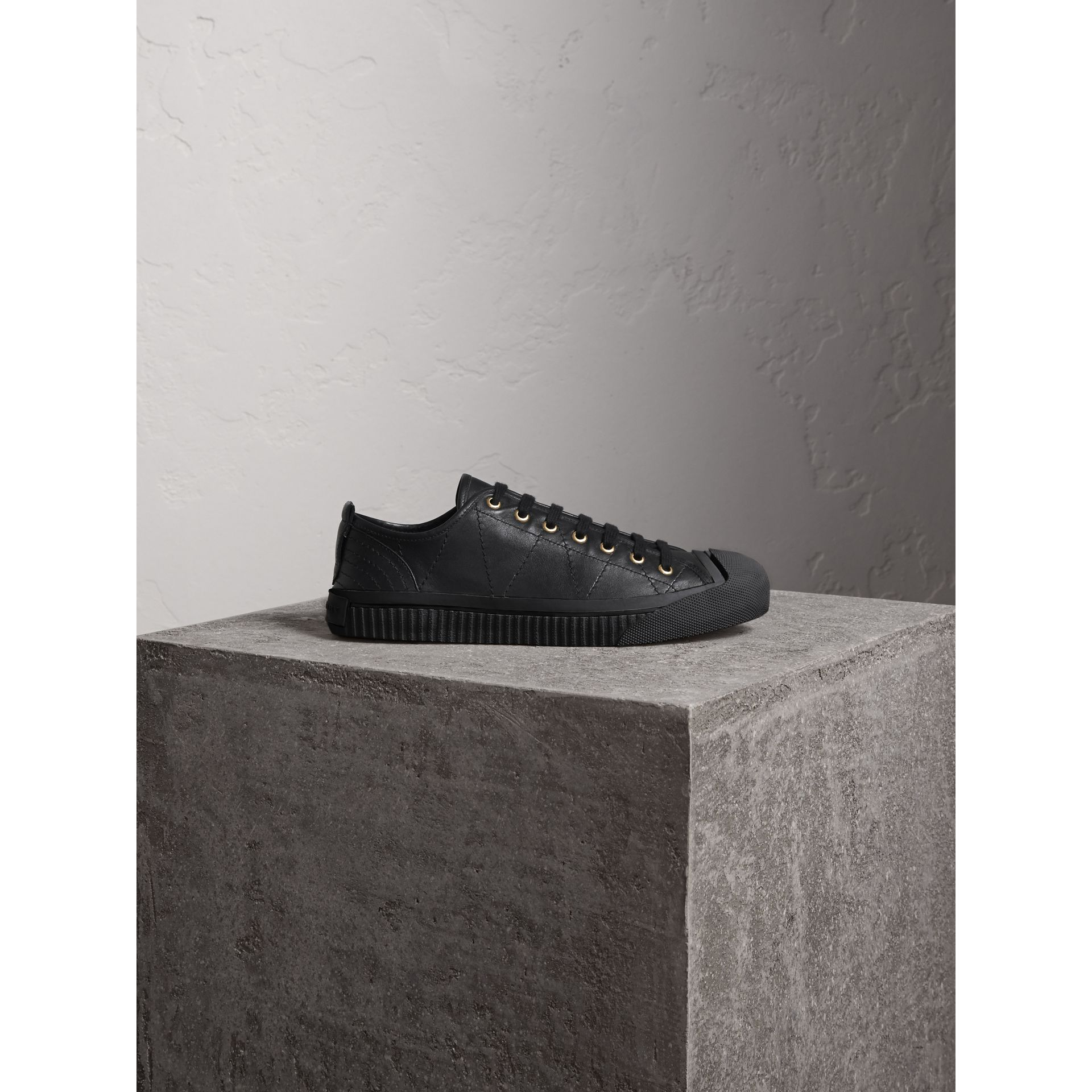 Topstitched Leather Trainers in Black - Men | Burberry - gallery image 1