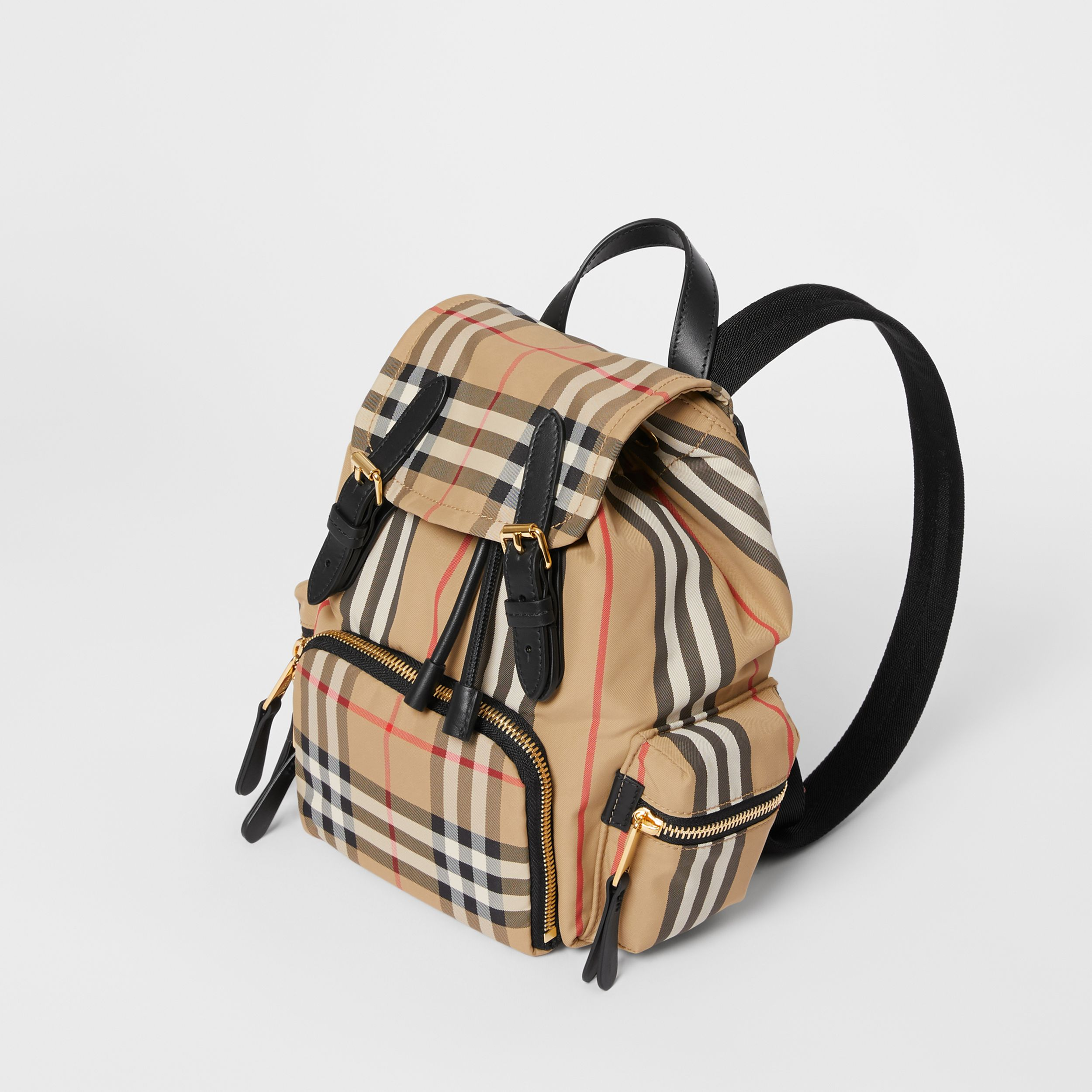 The Small Rucksack in Vintage Check and Icon Stripe in Archive Beige - Women | Burberry - 4