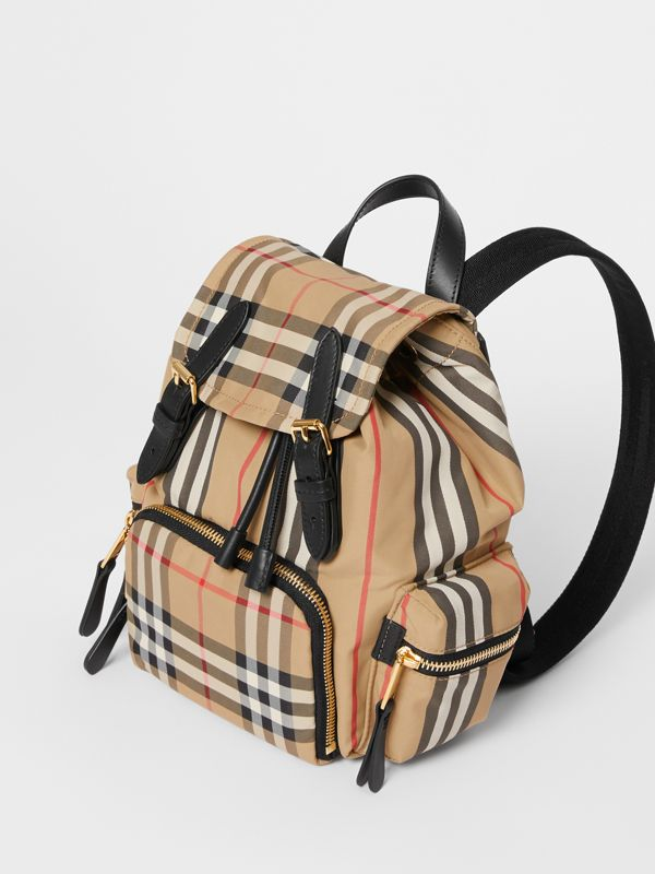 The Small Rucksack in Vintage Check and Icon Stripe in Archive Beige - Women | Burberry Australia - cell image 3