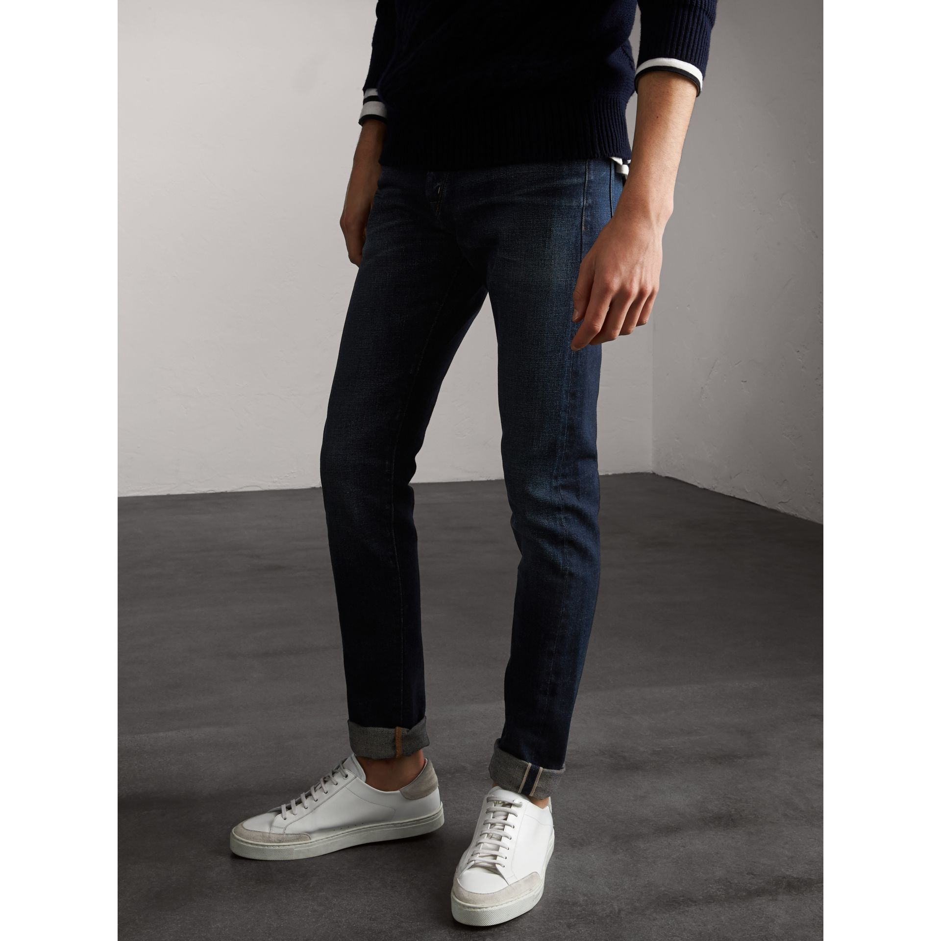 Skinny Fit Brushed Stretch Denim Jeans in Vintage Blue - Men | Burberry - gallery image 7