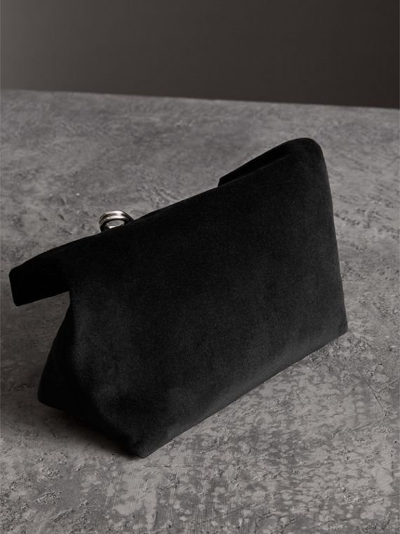 The Small Pin Clutch in Velvet in Black - Women | Burberry - cell image 2