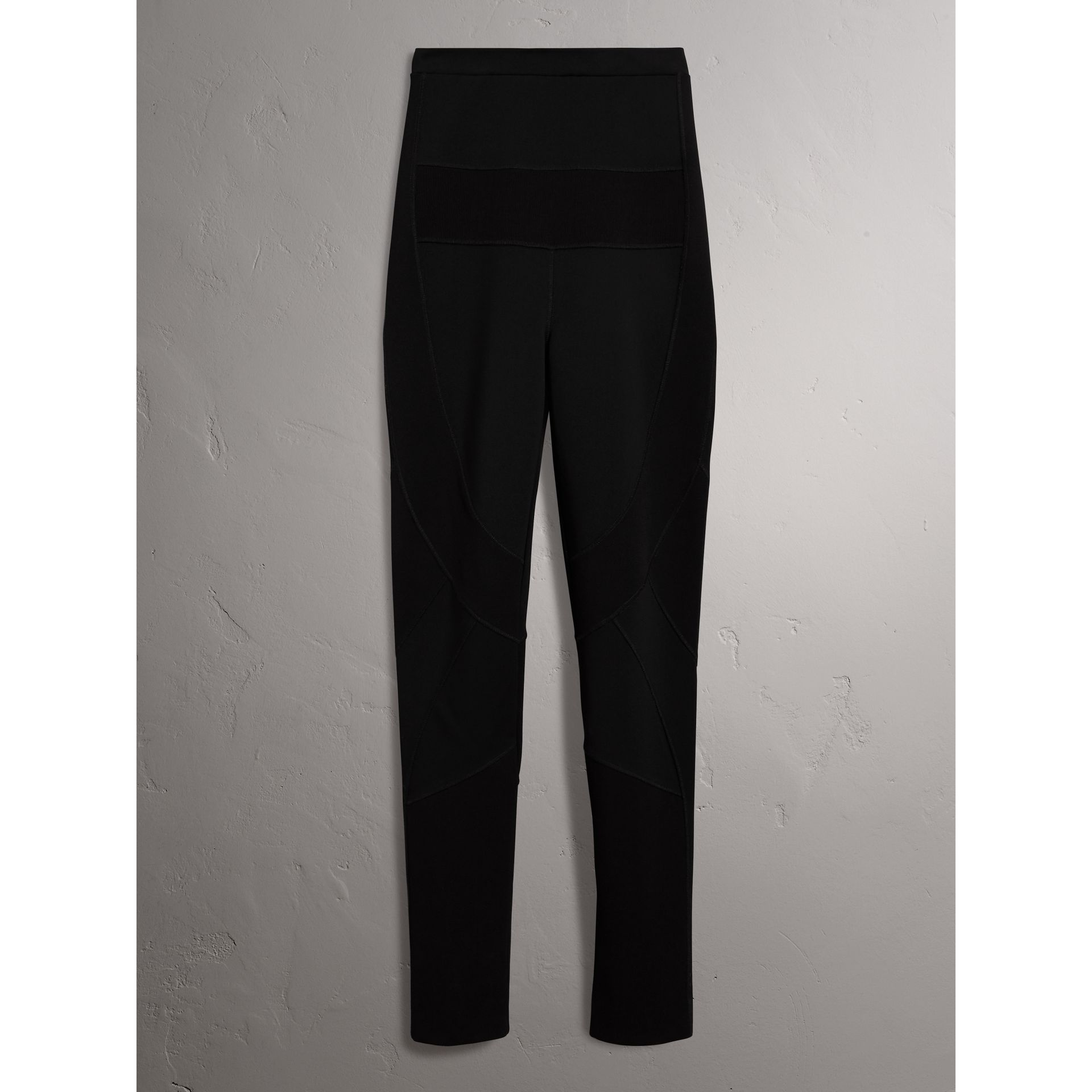 Panelled Stretch Jersey Leggings in Black - Women | Burberry United States - gallery image 3