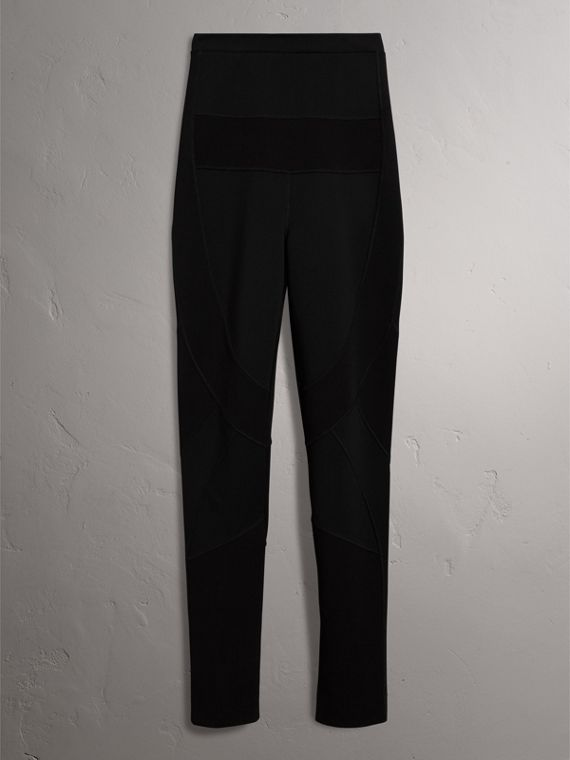 Panelled Stretch Jersey Leggings in Black - Women | Burberry United States - cell image 3