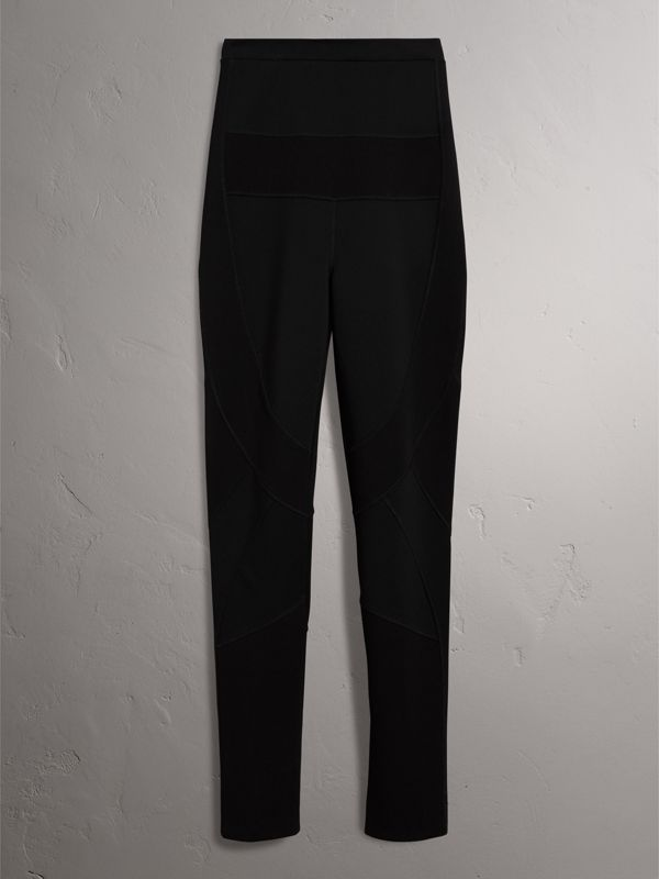 Panelled Stretch Jersey Leggings in Black - Women | Burberry - cell image 3