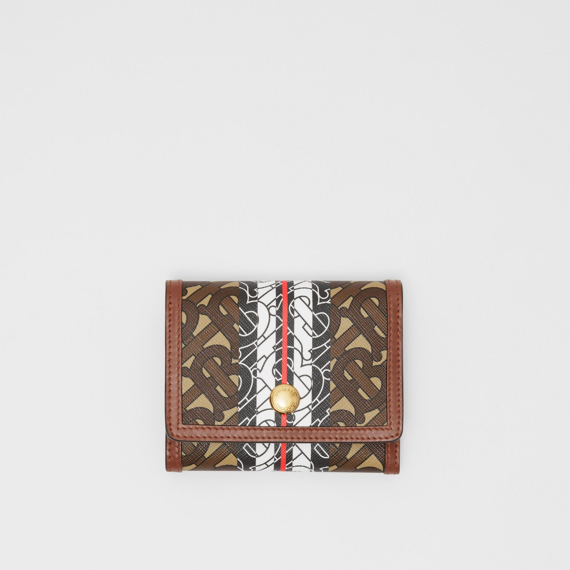 Small Monogram Stripe E-canvas Folding Wallet in Bridle Brown - Women | Burberry - gallery image 0