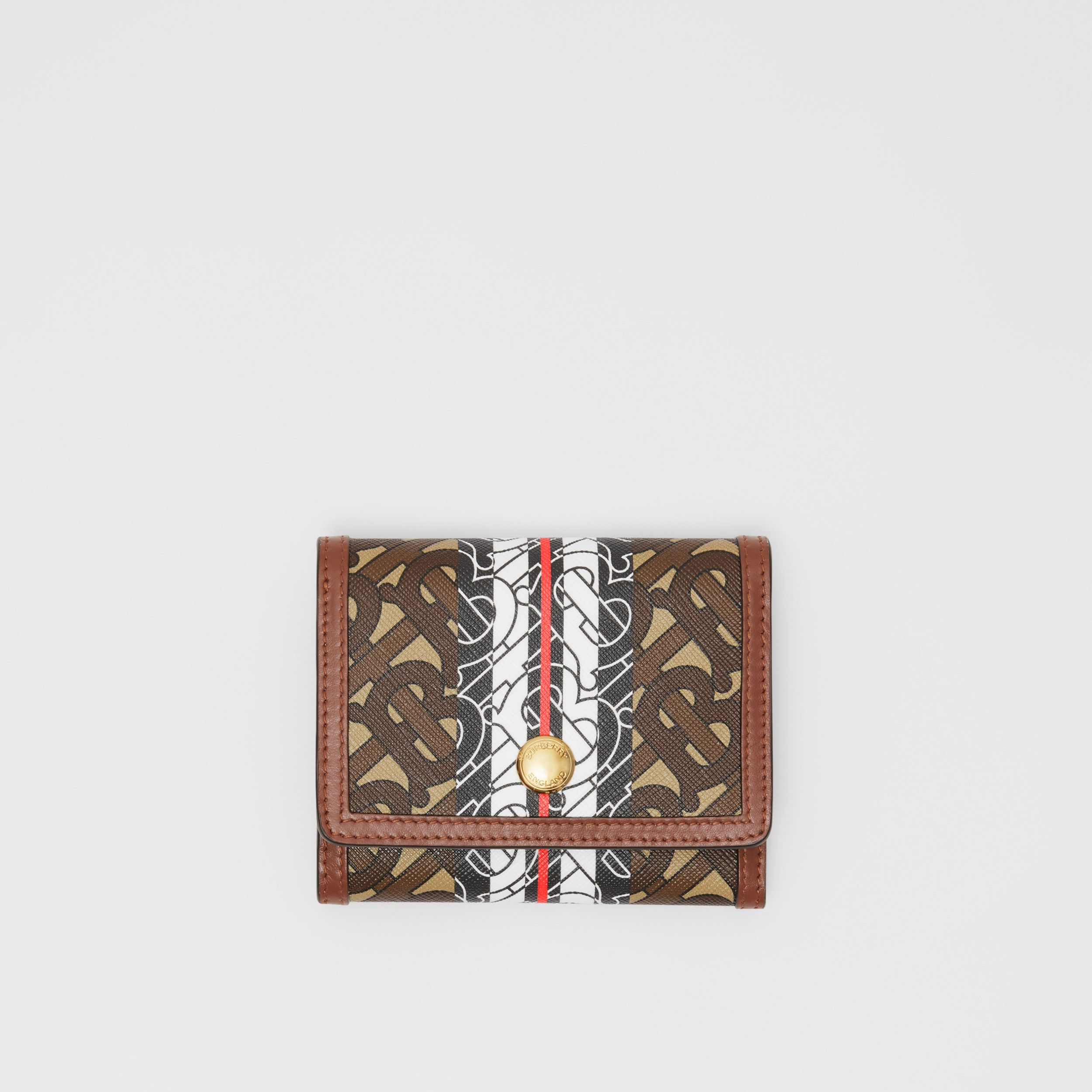 Small Monogram Stripe E-canvas Folding Wallet in Bridle Brown | Burberry - 1