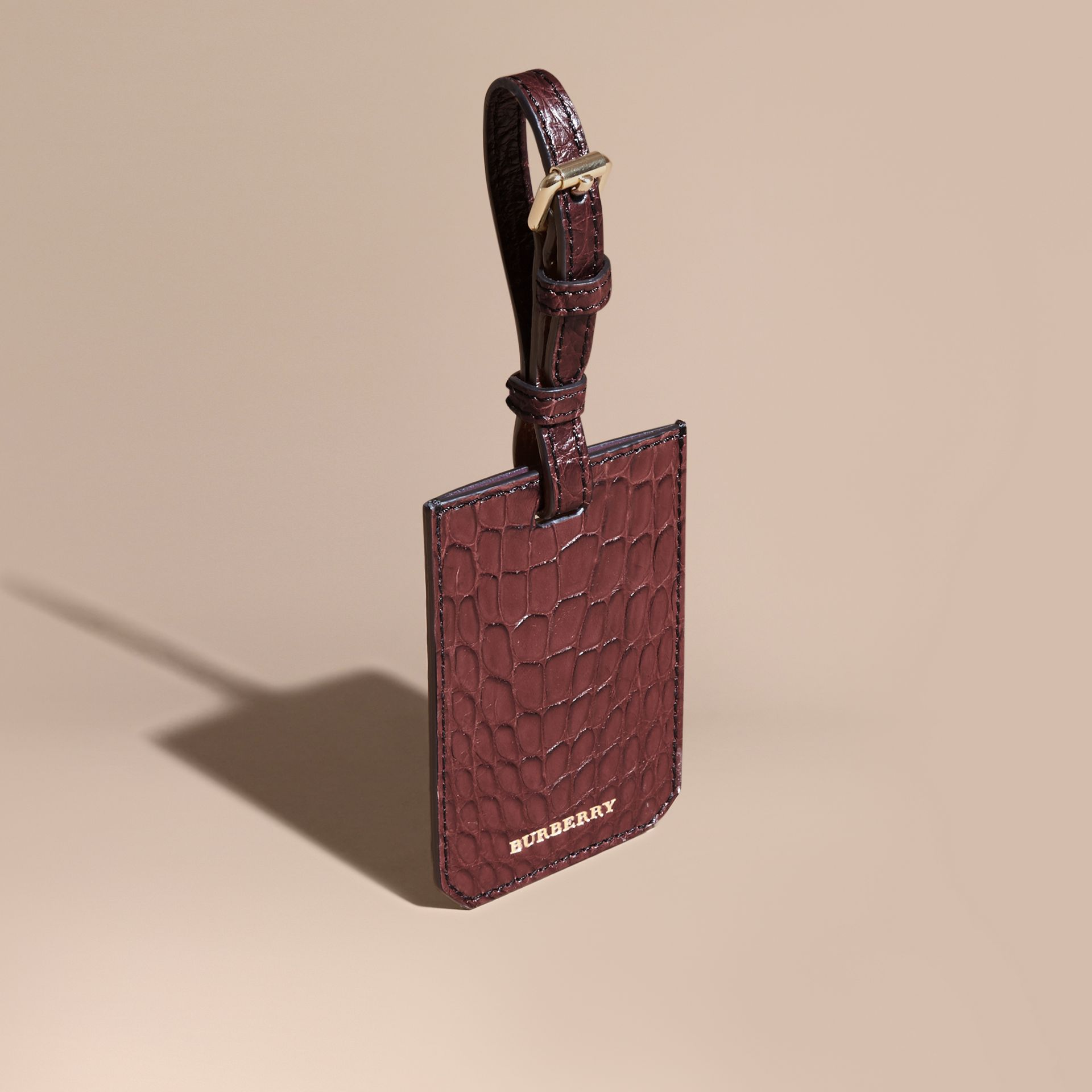 Alligator Luggage Tag in Deep Claret | Burberry - gallery image 1
