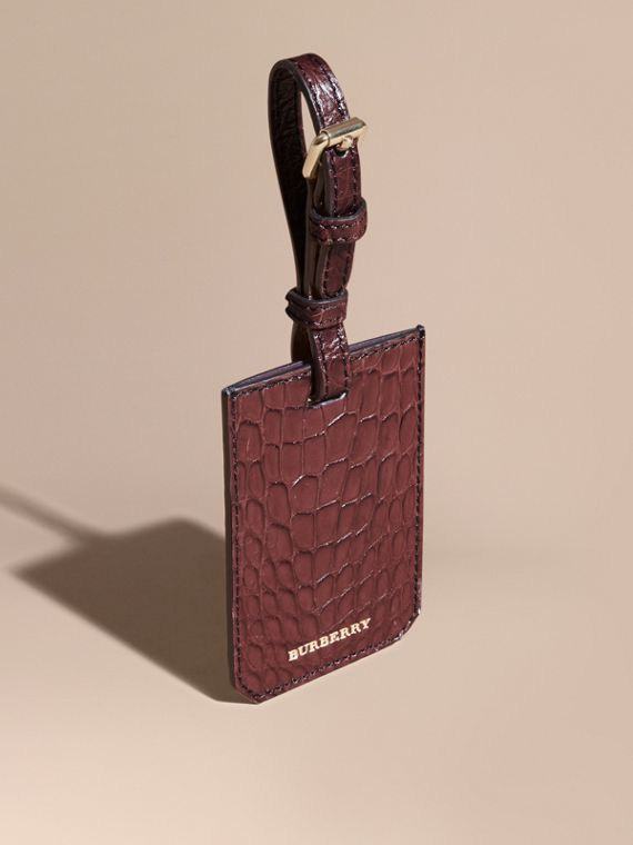 Alligator Luggage Tag in Deep Claret