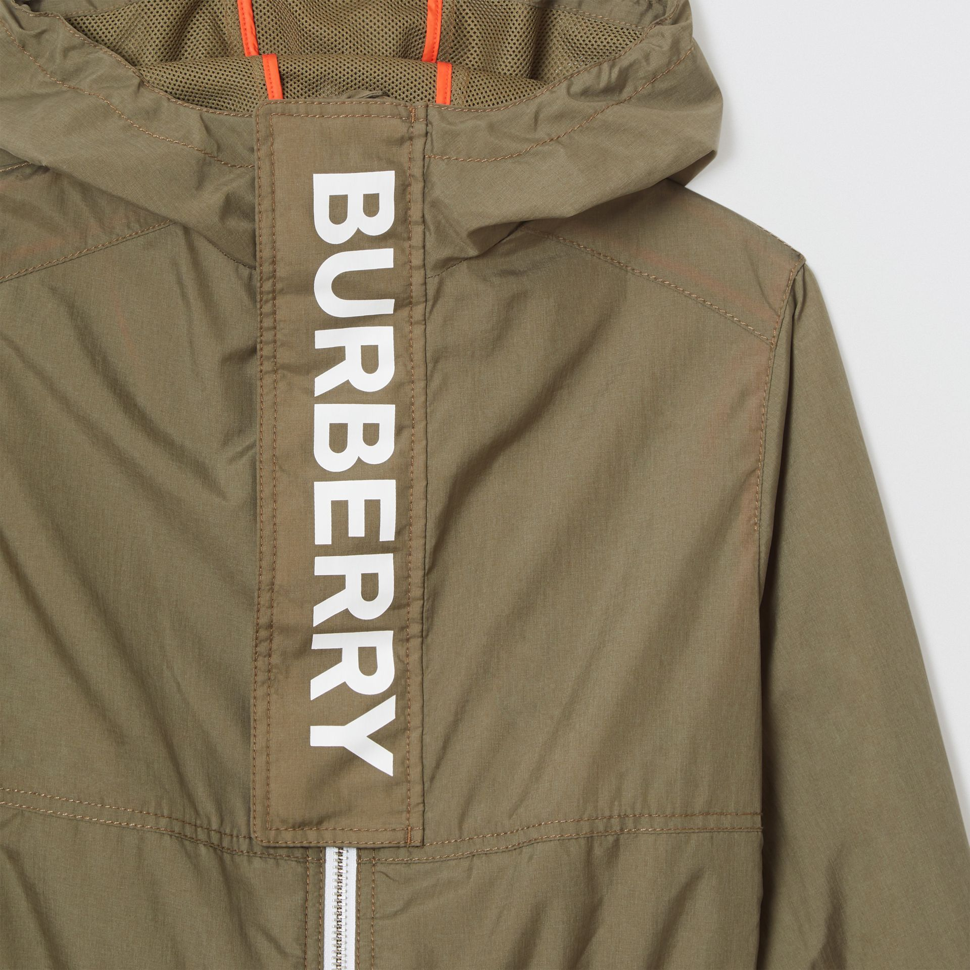 Logo Print Lightweight Hooded Jacket in Military Green | Burberry - gallery image 5