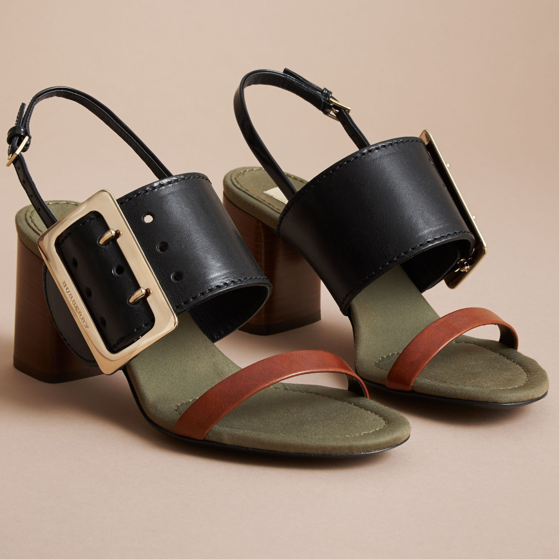 Buckle Detail Leather Sandals - Women | Burberry - gallery image 5