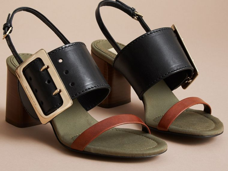 Buckle Detail Leather Sandals - Women | Burberry - cell image 4