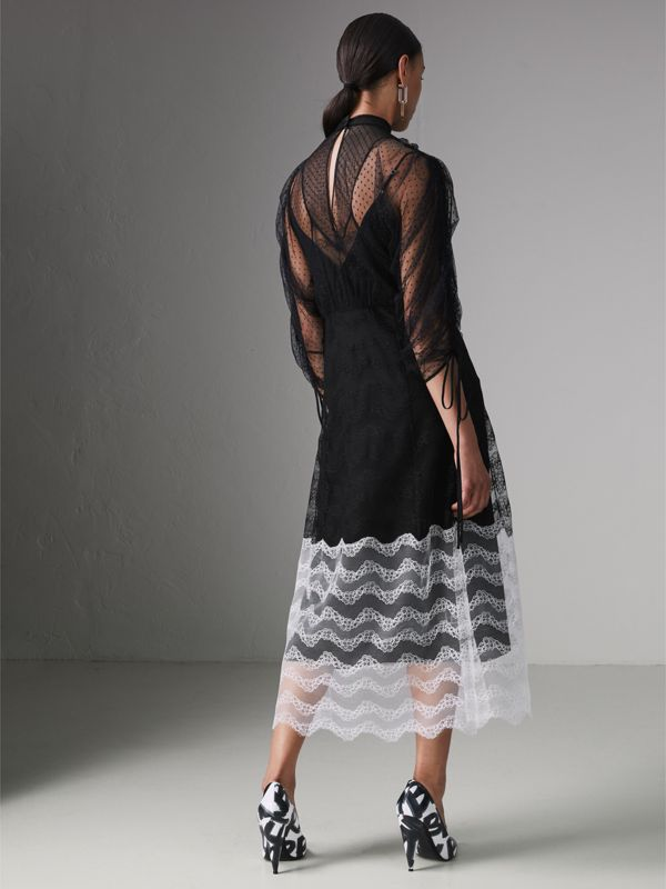 Gathered-sleeve Geometric Lace Dress in Black - Women | Burberry Hong Kong - cell image 2