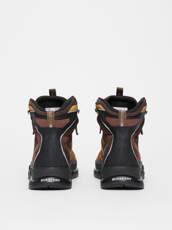 Mesh and Nubuck Union High-top Sneakers in Dark Tan - Men | Burberry Canada - cell image 3