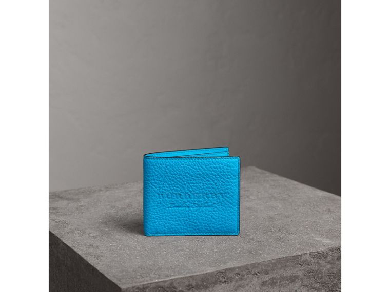 Embossed Leather International Bifold Wallet in Neon Blue - Men | Burberry United Kingdom - cell image 4