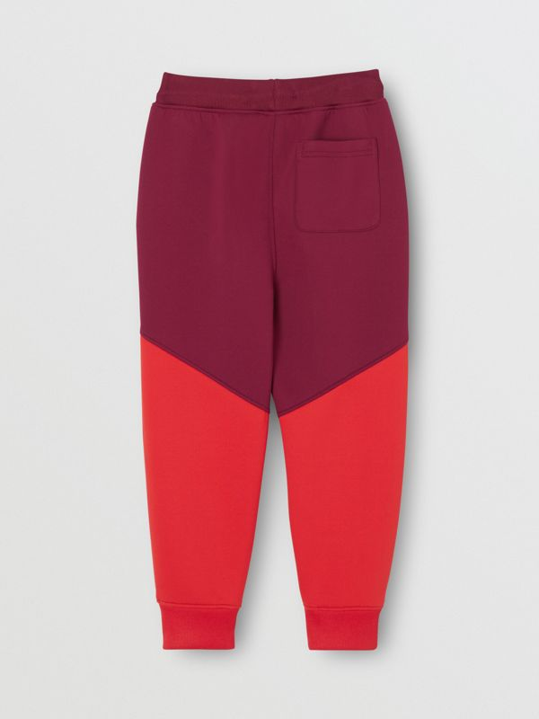Logo Print Two-tone Stretch Jersey Trackpants in Dark Burgundy | Burberry - cell image 3