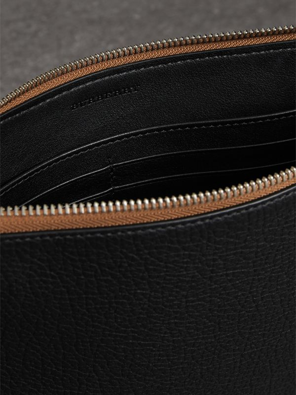 Grainy Leather Zip Pouch in Black | Burberry Australia - cell image 3