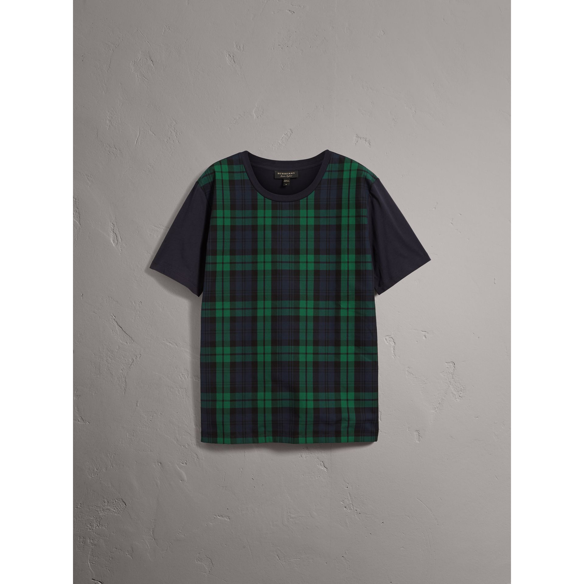 Tartan Panel Cotton T-shirt in Navy - Men | Burberry - gallery image 3