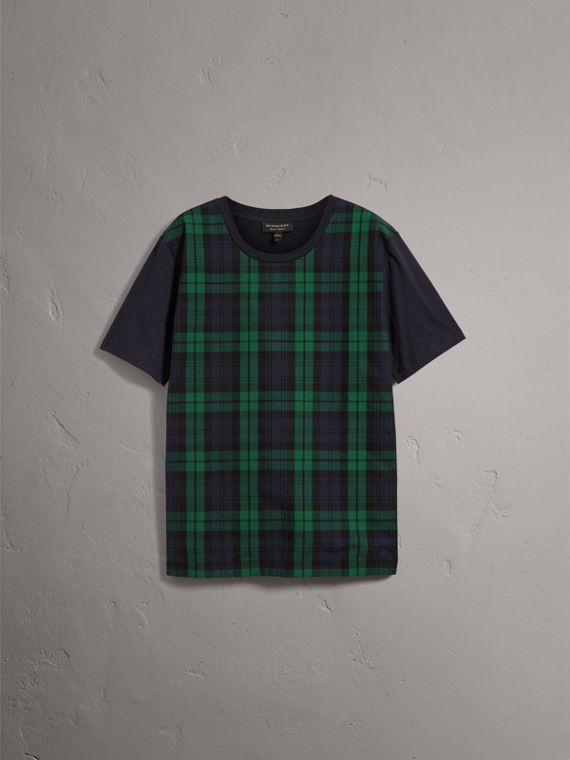 Tartan Panel Cotton T-shirt in Navy - Men | Burberry - cell image 3
