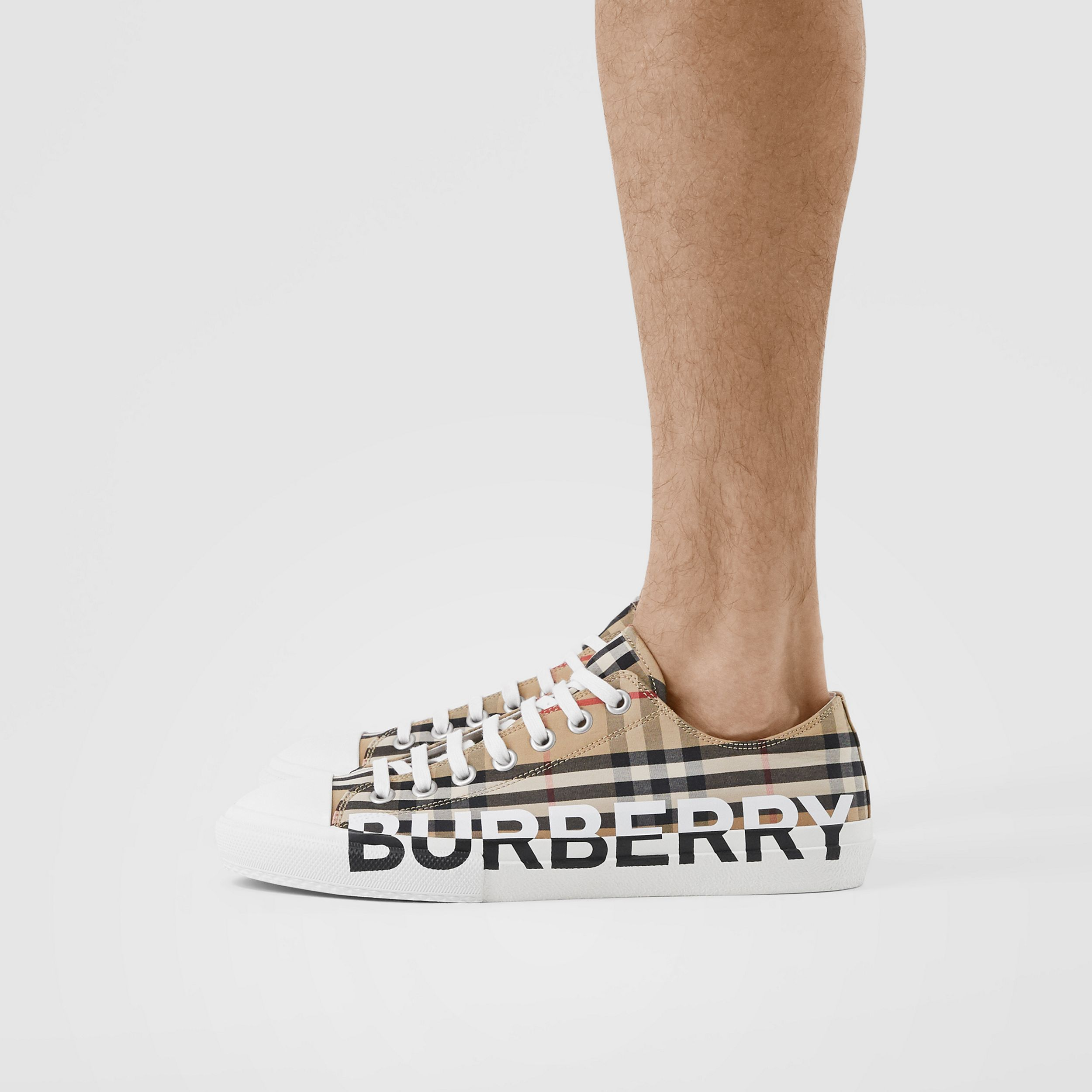Logo Print Vintage Check Cotton Sneakers in Archive Beige - Men | Burberry - 3