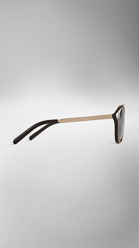 Tortoise shell Trench Collection Round Frame Sunglasses - Image 4