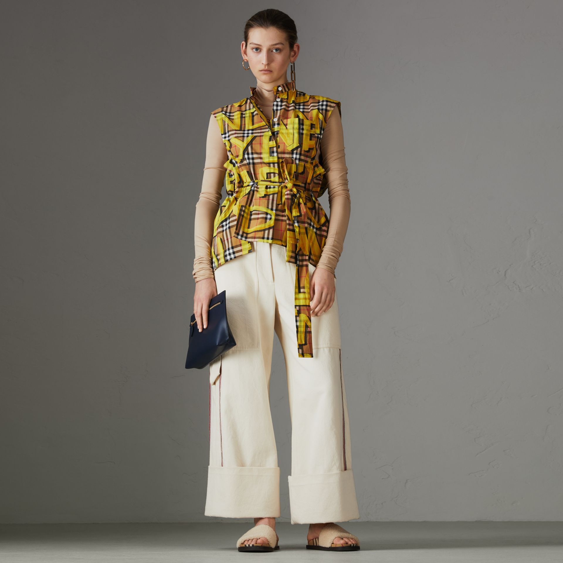 Sleeveless Graffiti Print Vintage Check Cotton Shirt in Bright Yellow - Women | Burberry Singapore - gallery image 0