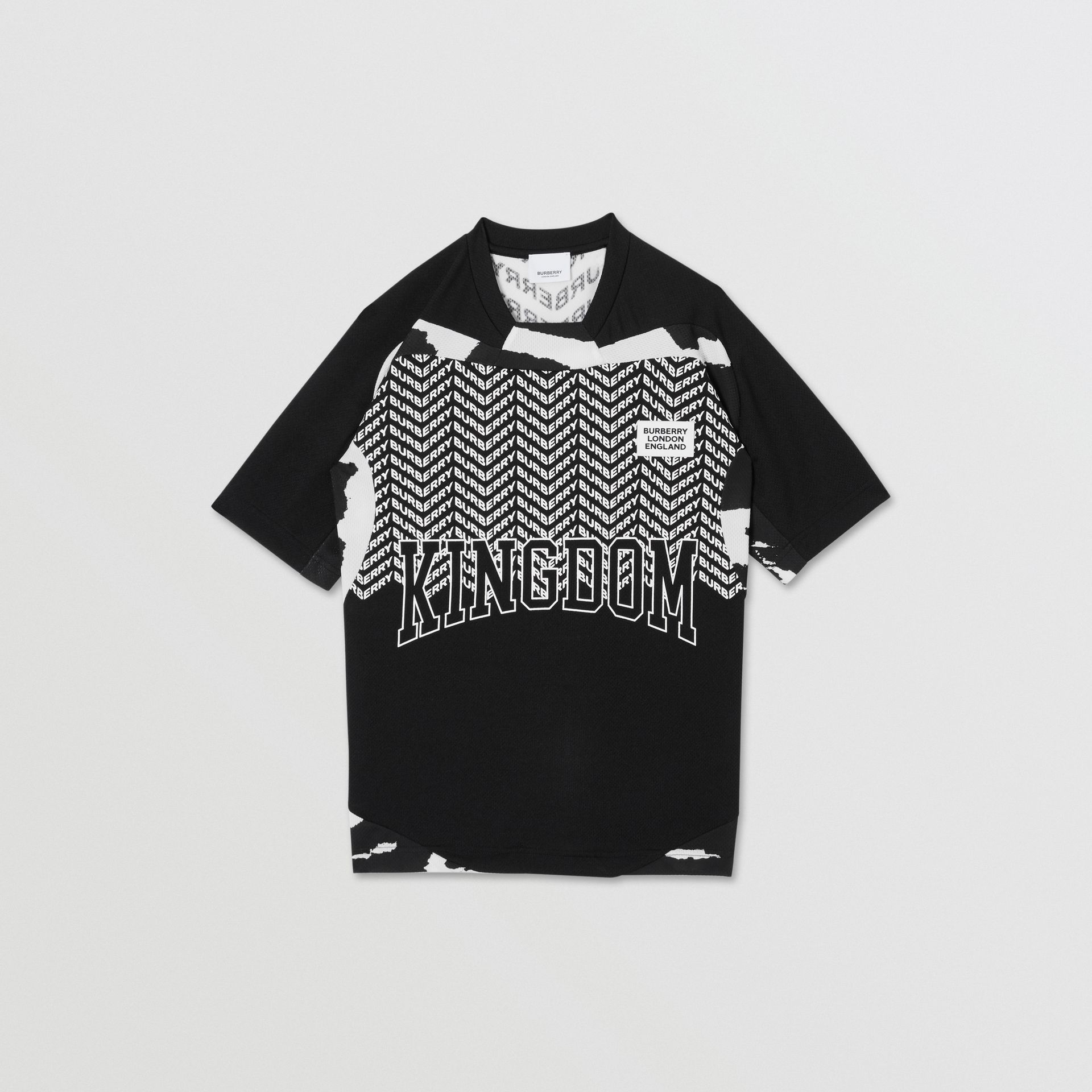 Kingdom Print Mesh T-shirt in Black | Burberry Canada - gallery image 0