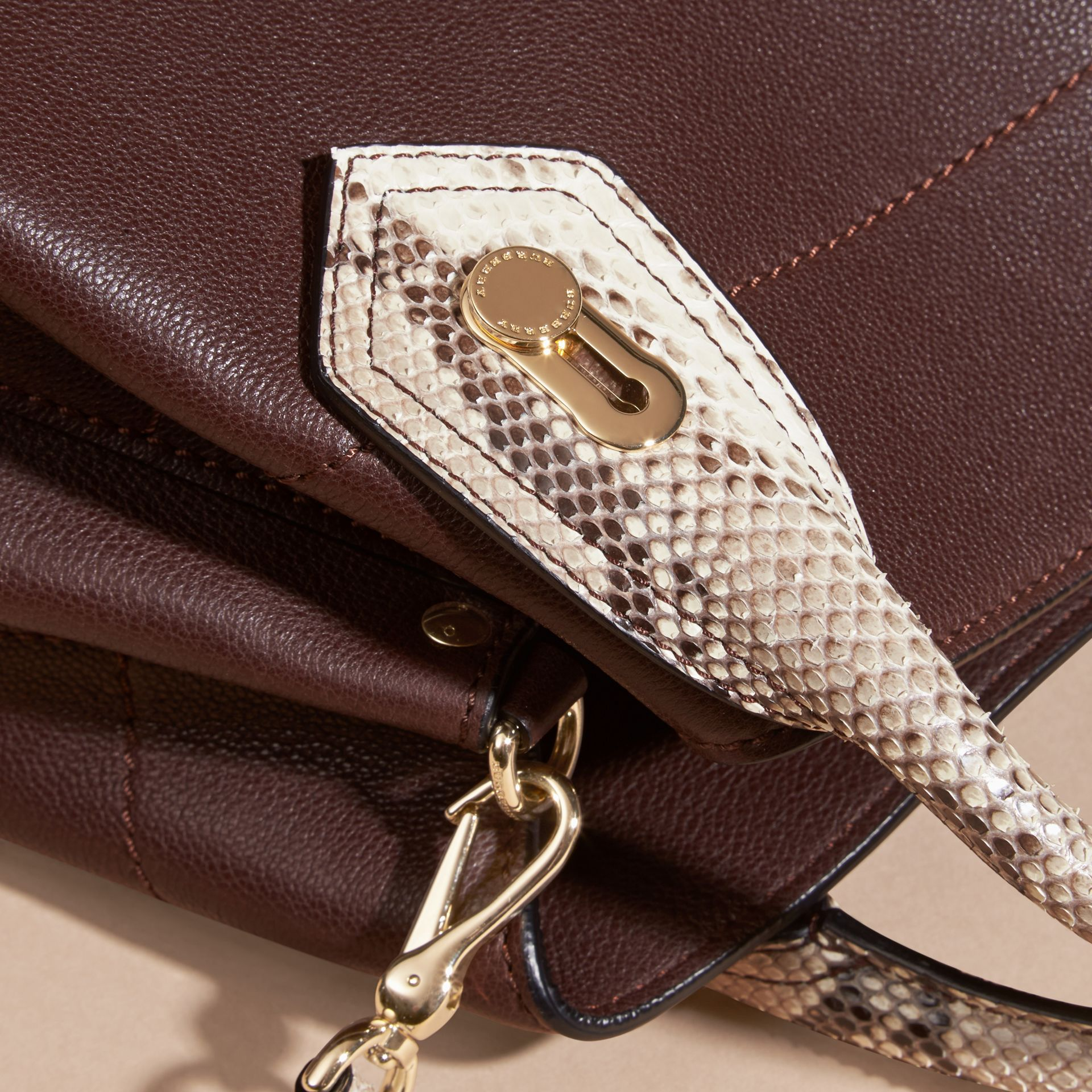 Dark chocolate The Small Milton in Grainy Leather and Python - gallery image 2