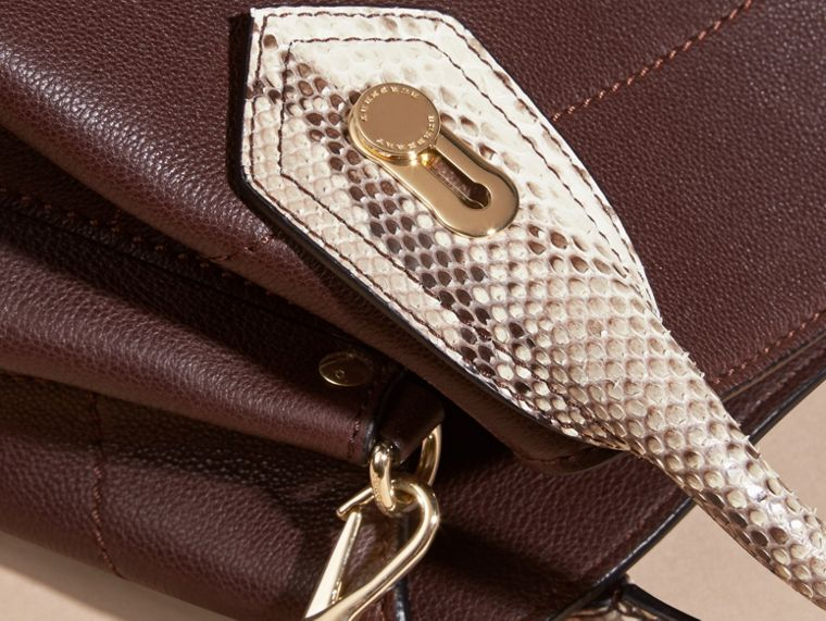 Dark chocolate The Small Milton in Grainy Leather and Python - cell image 1