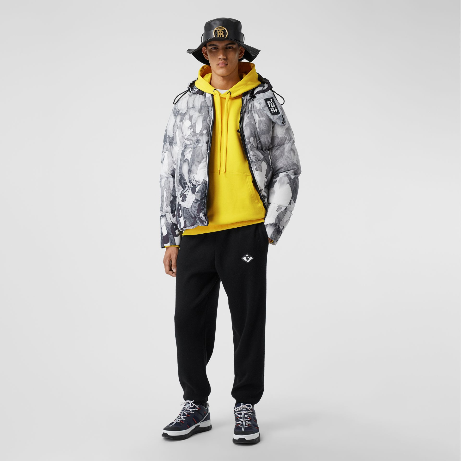 Logo Print Cotton Hoodie in Canary Yellow - Men | Burberry - gallery image 3