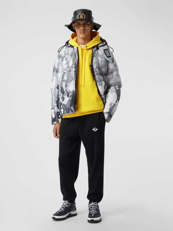 Logo Print Cotton Hoodie in Canary Yellow - Men | Burberry - cell image 3