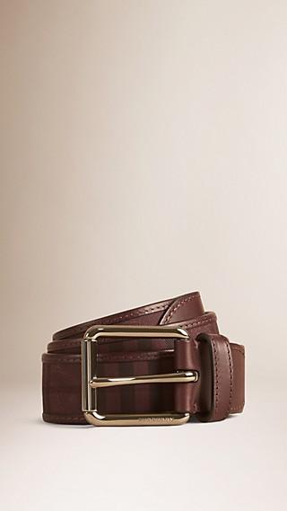 Cinto de couro com padrão Horseferry check sobretingido