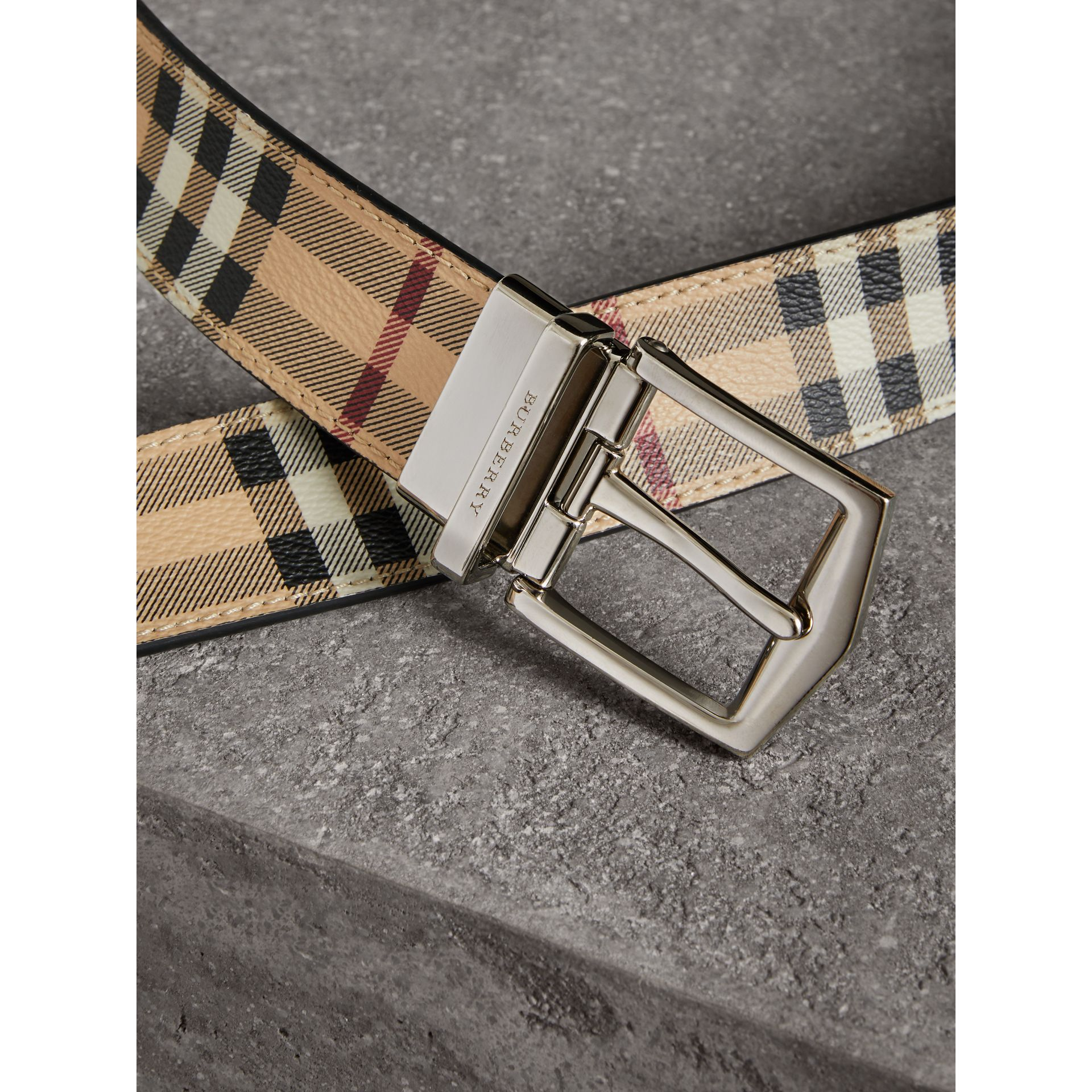 Reversible Haymarket Check and Leather Belt in Black - Men | Burberry Australia - gallery image 1
