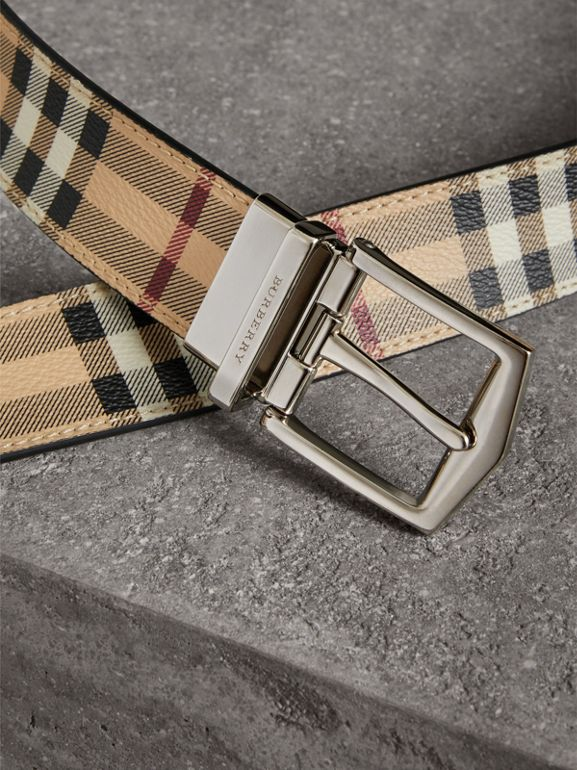 Reversible Haymarket Check and Leather Belt in Black - Men | Burberry Australia - cell image 1