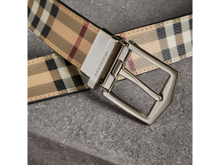 Reversible Haymarket Check and Leather Belt in Black - Men | Burberry Canada - cell image 1