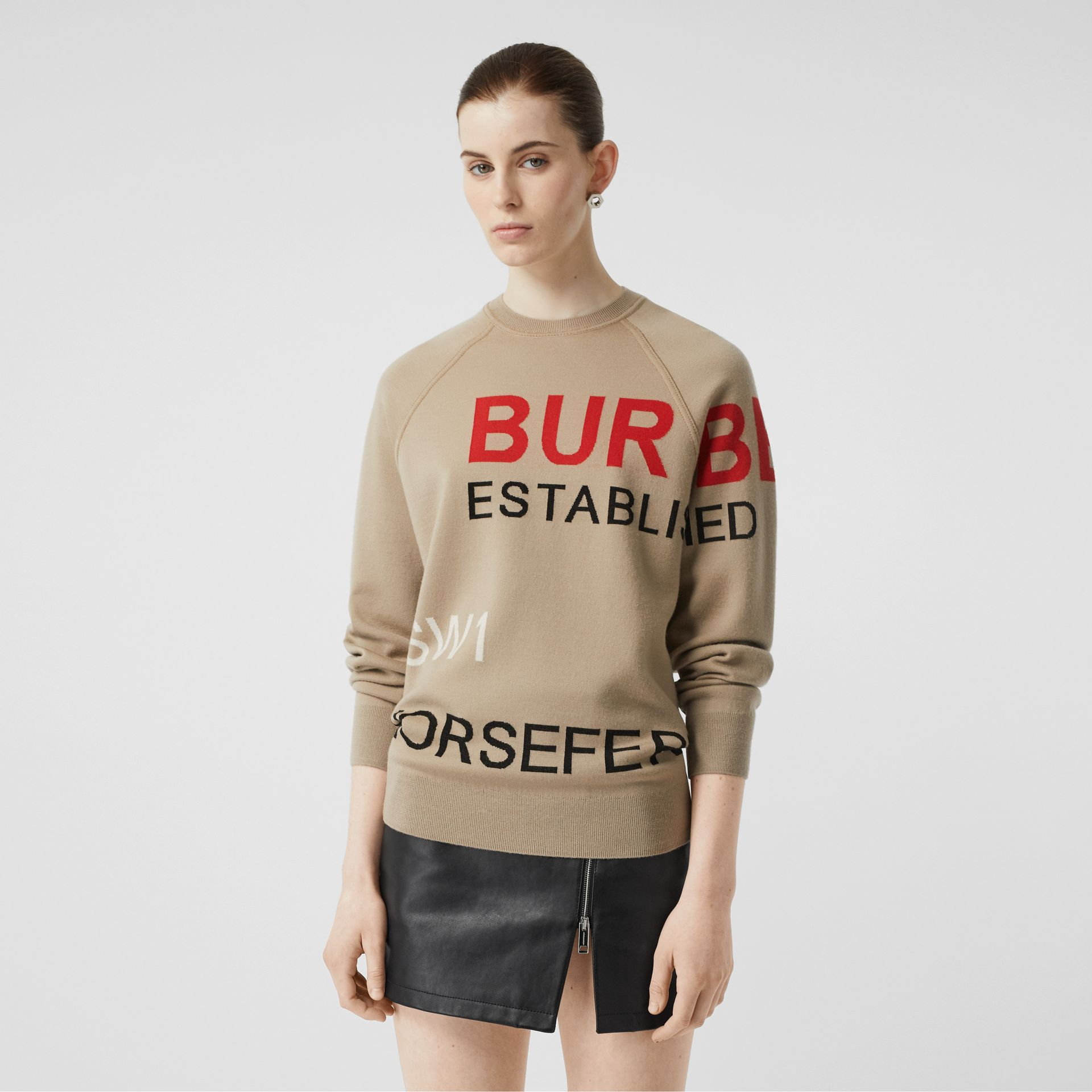 Horseferry Intarsia Merino Wool Blend Sweater in Beige - Women | Burberry - gallery image 4