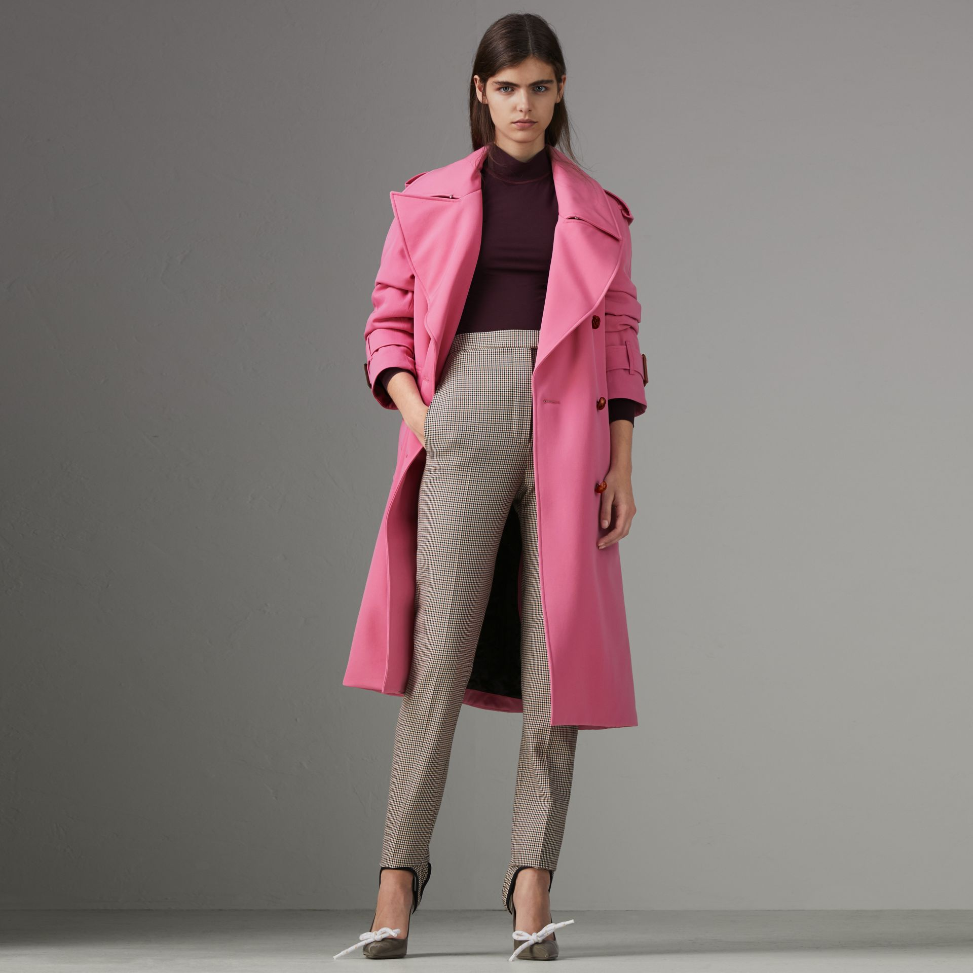 Oversized Lapel Wool Gabardine Trench Coat in Bright Pink - Women | Burberry - gallery image 0