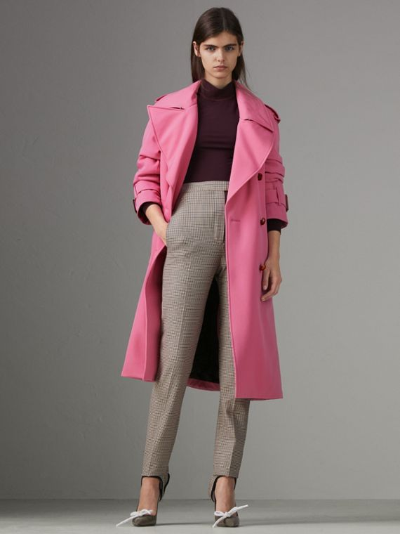 Oversized Lapel Wool Gabardine Trench Coat in Bright Pink
