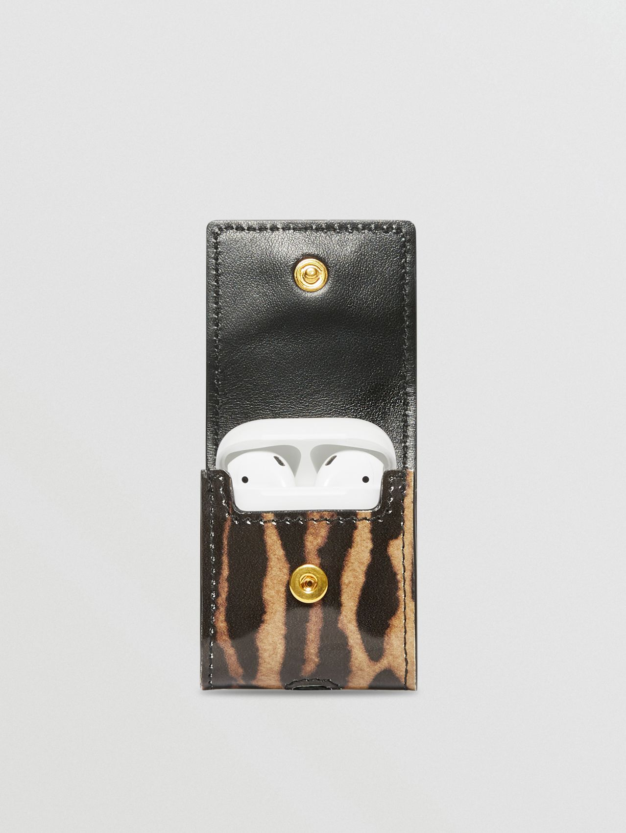 Leopard Print Leather AirPods Case in Dark Mustard