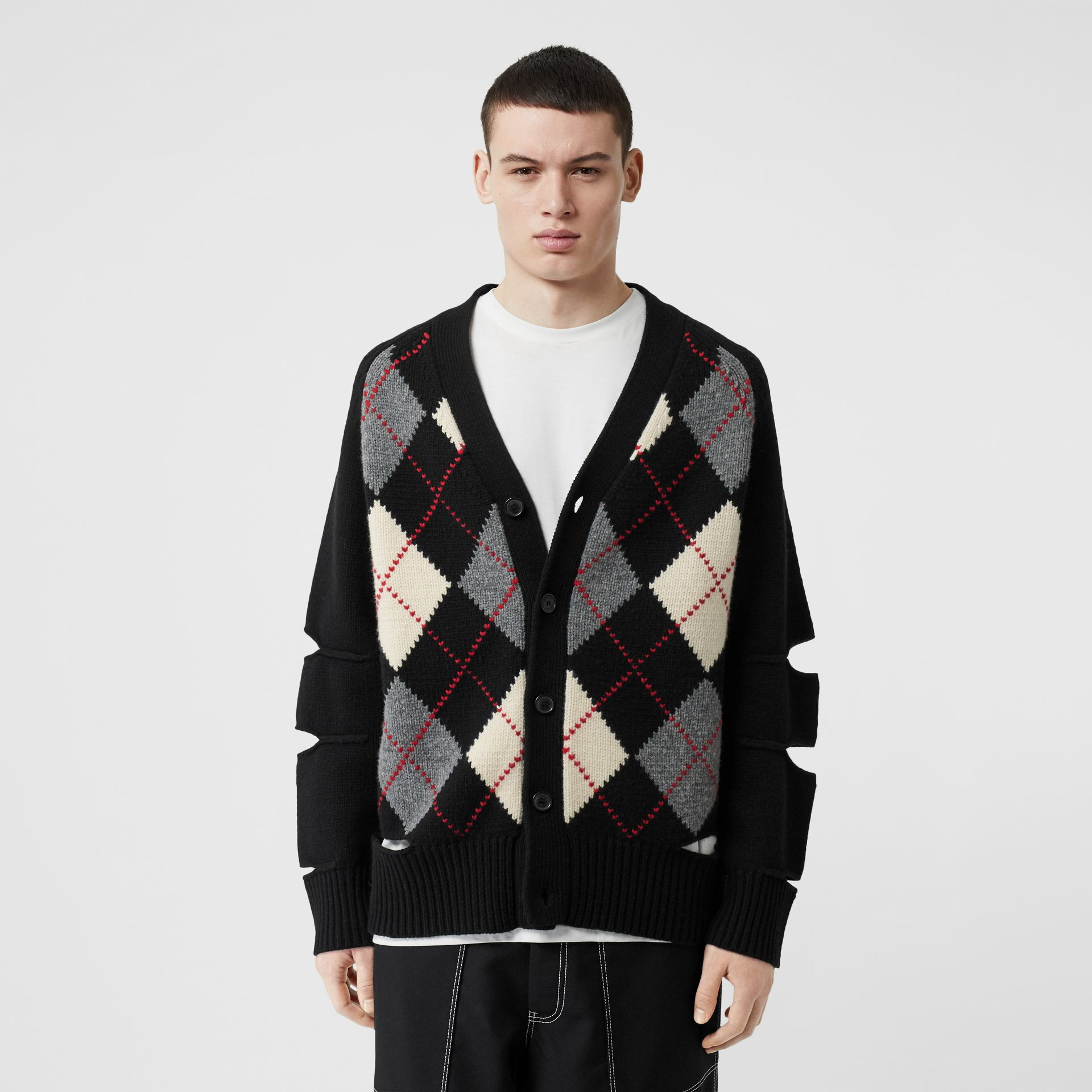 Cut-out Detail Merino Wool Cashmere Cardigan in Black - Men | Burberry - gallery image 5